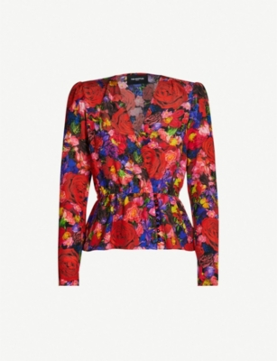 THE KOOPLES Floral-print silk top