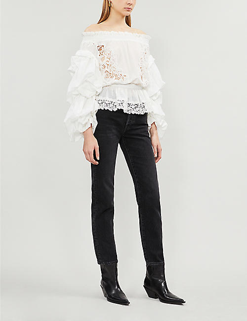 THE KOOPLES Off-the-shoulder lace cotton top