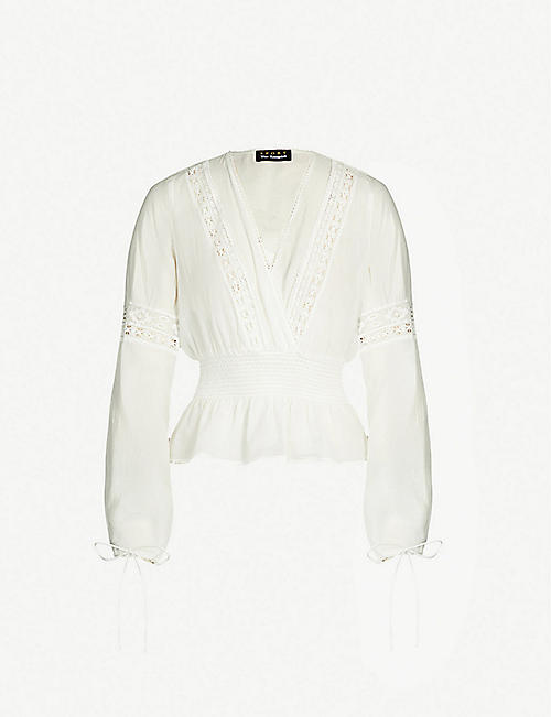 67af0f7037 THE KOOPLES Smocked ramie and cotton-blend blouse