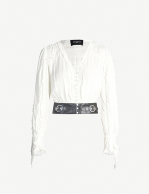 THE KOOPLES Belted V-neck long-sleeved woven top