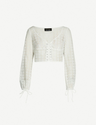 THE KOOPLES Cropped embroidery top