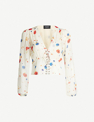 THE KOOPLES Lace-up front floral crepe top