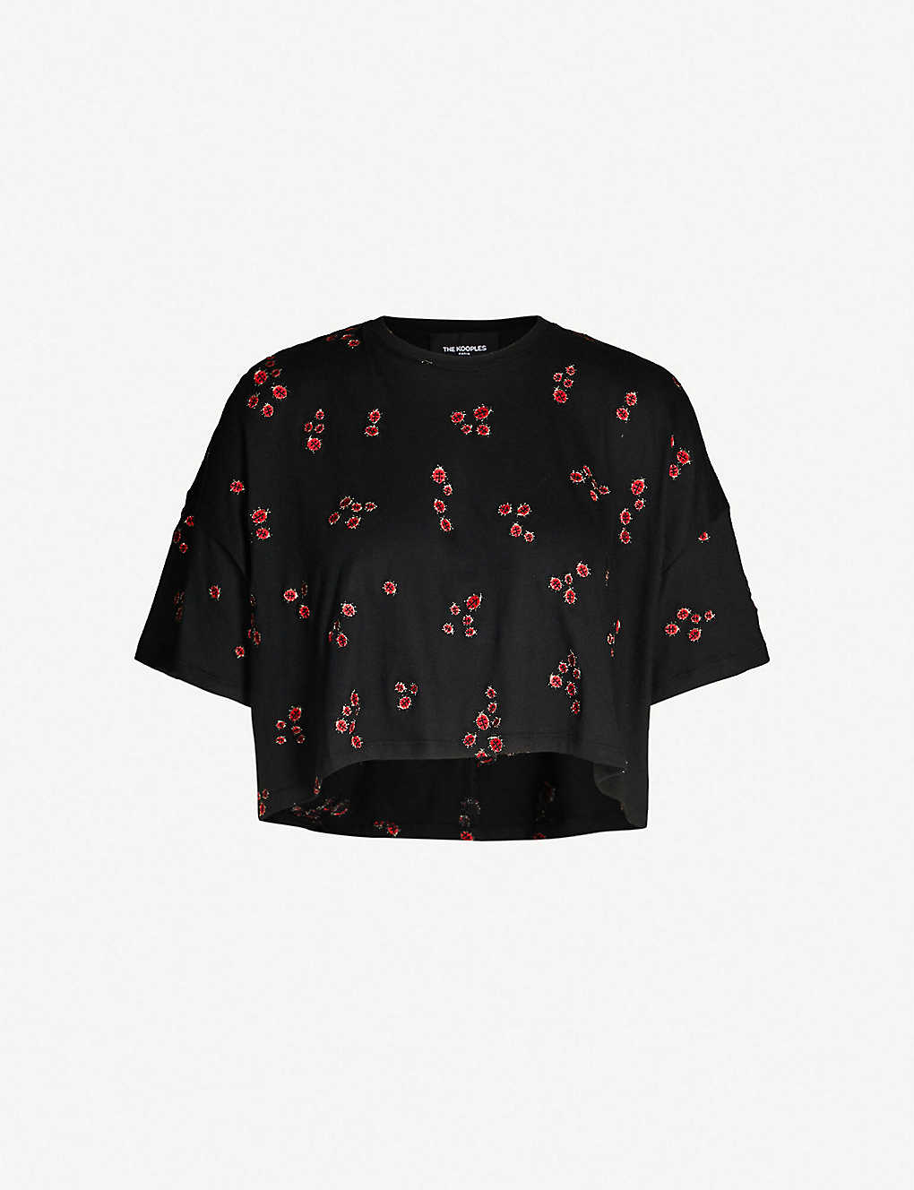 3d0620de6 THE KOOPLES - Ladybird-embroidered cropped cotton-blend T-shirt ...