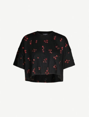 THE KOOPLES Ladybird-embroidered cropped cotton-blend T-shirt