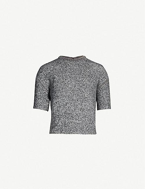 913012cb7a THE KOOPLES Cropped embellished fleece T-shirt