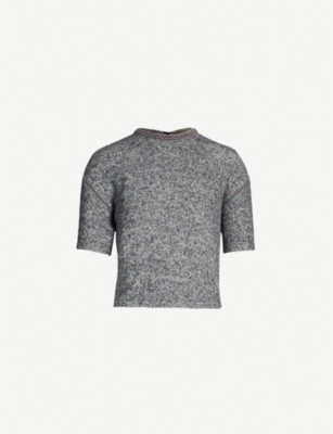 THE KOOPLES Cropped embellished fleece T-shirt