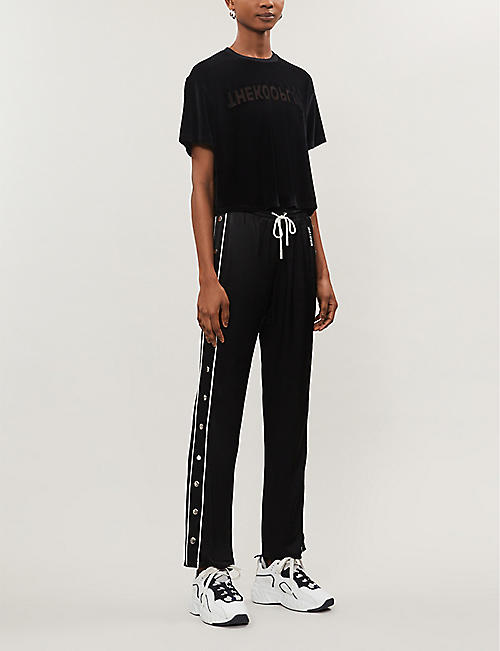 THE KOOPLES SPORT Slogan-print cropped velour T-shirt