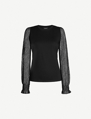 THE KOOPLES Semi-sheer cotton and lace T-shirt