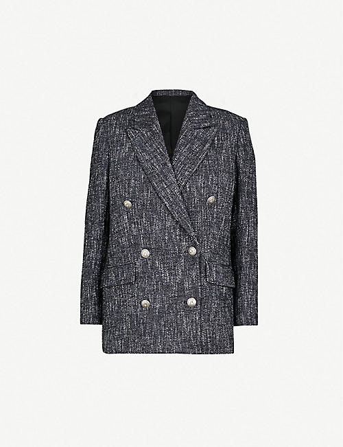 THE KOOPLES Double-breasted cotton-blend woven blazer b382639d61c8