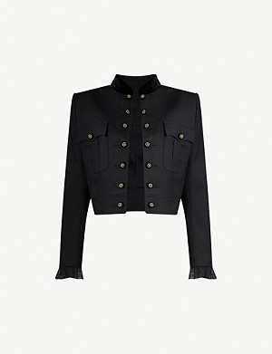 THE KOOPLES Velvet-trim cotton-blend jacket