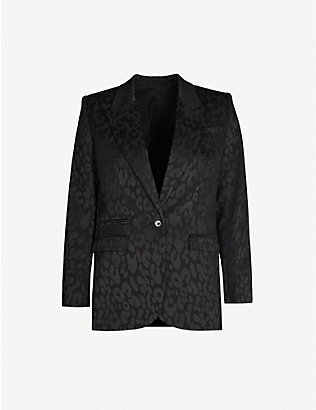 THE KOOPLES: Leopard-print single-breasted jacquard blazer