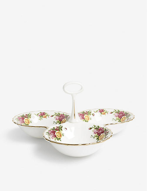 ROYAL ALBERT: Old Country Roses bone-china divided tray
