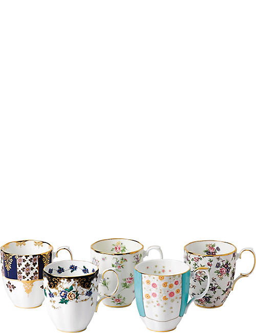 ROYAL ALBERT: 100 years 5-piece mug set (1900-1940)