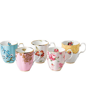 ROYAL ALBERT 100 years 5-piece mug set (1950-1990)