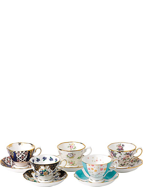 ROYAL ALBERT 100 years 5-piece cup and saucer set (1900-1940)