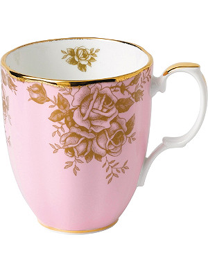 ROYAL ALBERT 100 years Golden Roses china and 9ct mug