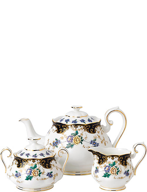 ROYAL ALBERT 100 years 1910 duchess teapot, sugar and milk set