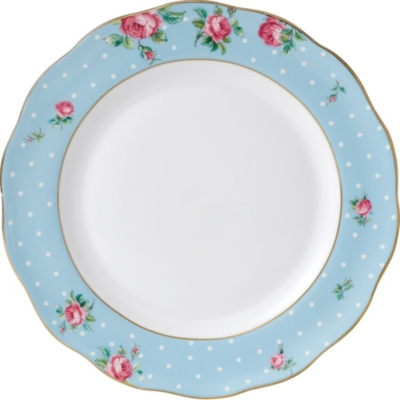 ROYAL ALBERT Polka Blue china plate 27cm