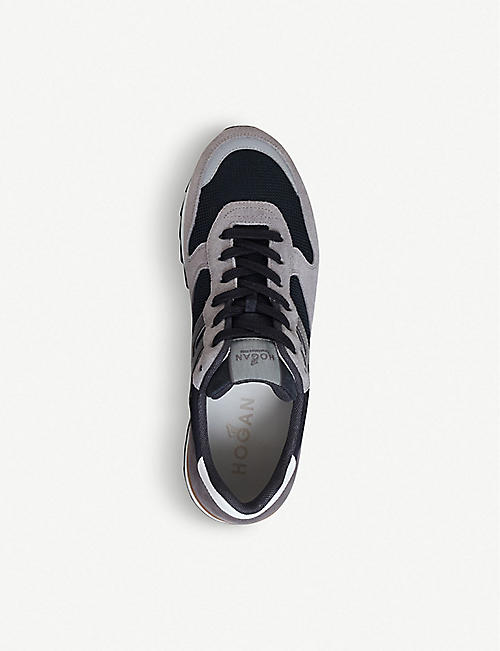 HOGAN Low-top suede and mesh trainers