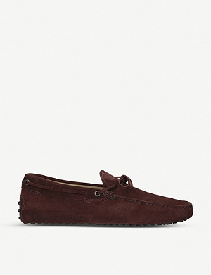 TODS 122 Tie suede driving shoes