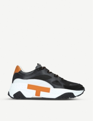 TODS T Run leather and mesh trainers