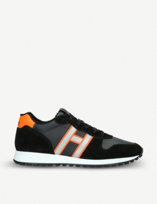 HOGAN Colour-blocked suede and leather trainers