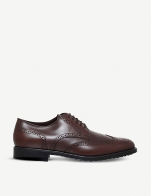TODS Brogued leather derby shoes