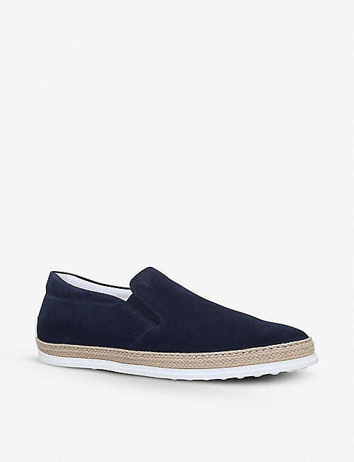 TODS: Raffia suede skate shoes