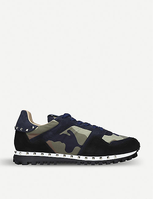 55ccbc02a35e VALENTINO Rockstud camouflage-print shell and suede trainers