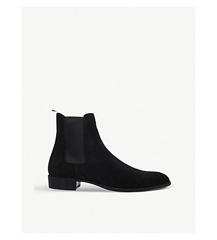 28ad5a8d21f4 SAINT LAURENT Wyatt suede Chelsea boots (Black