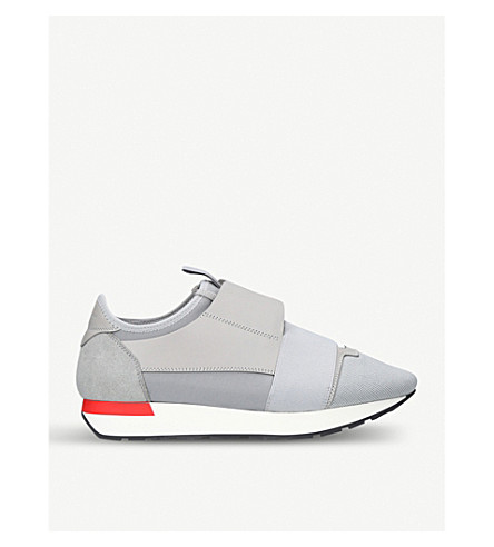 f874fe7cf4e9 BALENCIAGA Race Runners leather and mesh trainers (Grey
