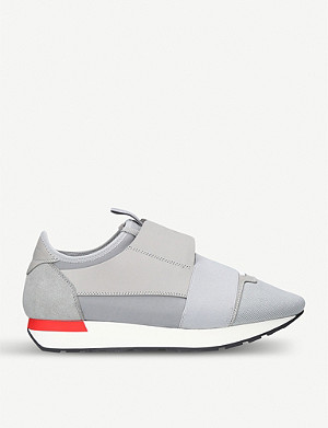 BALENCIAGA Mens Race Runners leather and mesh trainers