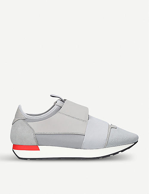 eee5f918952e BALENCIAGA Race Runners leather and mesh trainers