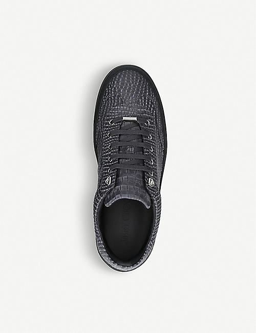 JIMMY CHOO Ace croc-embossed leather trainers