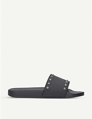 VALENTINO: Rockstud rubber pool slider sandals