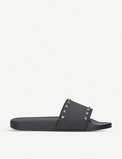 VALENTINO GARAVANI: Rockstud rubber pool slider sandals