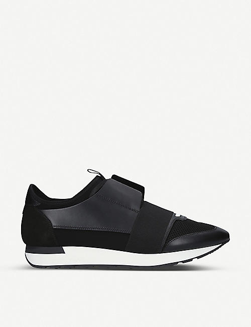 ff6fcf293ac1 BALENCIAGA Mens Race Runners leather and mesh trainers