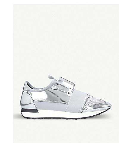 b35873d88075b BALENCIAGA Race Runners metallic leather and mesh sneakers (Silver