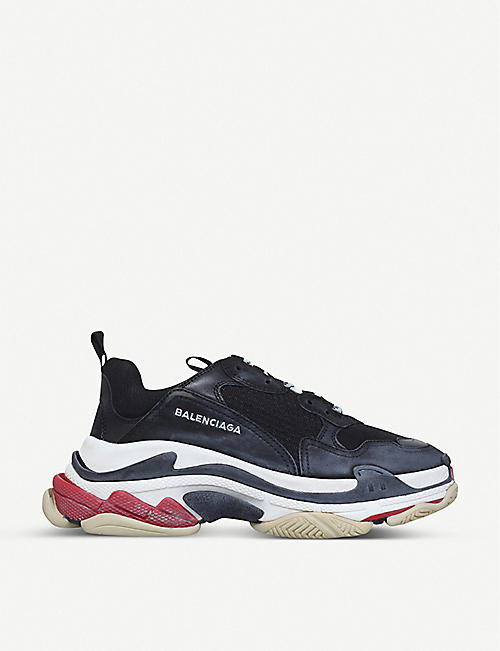 bd0a03357a5cf BALENCIAGA Triple S suede and mesh trainers
