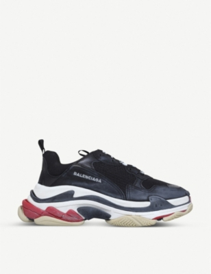 BALENCIAGA Triple S suede and mesh trainers