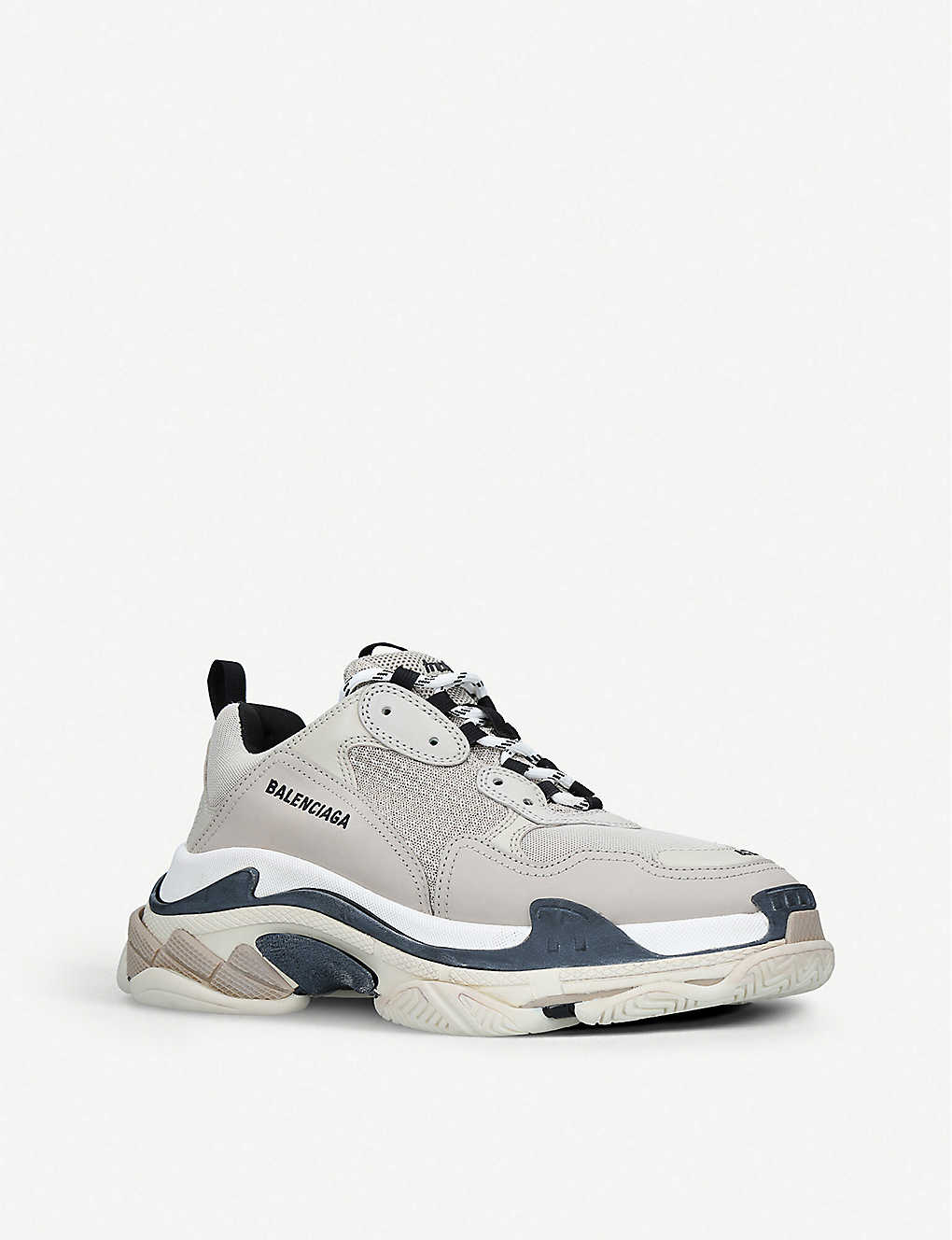 33e1a1506206 ... Mens Triple S leather and mesh trainers - Greypcmb ...