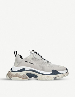 BALENCIAGA Mens Triple S 皮革网眼运动鞋