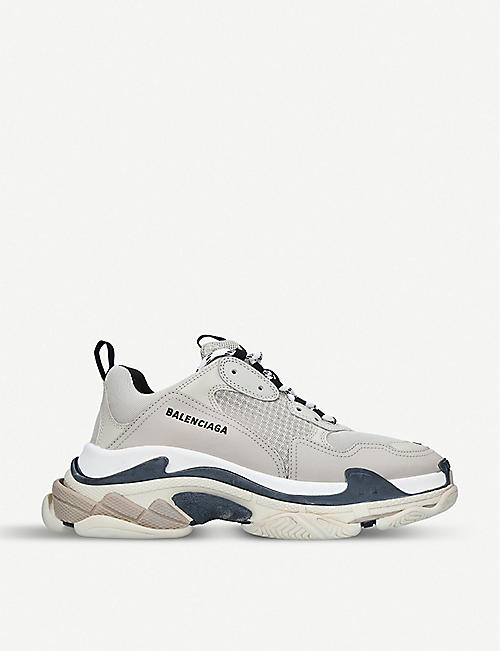 3ee682ebca09 BALENCIAGA Mens Triple S leather and mesh trainers