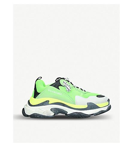 Balenciaga Men's Triple S Mesh & Leather Sneakers, Green