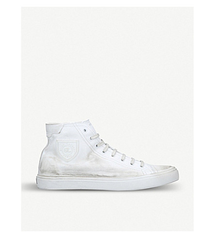6ec4ff466ecd SAINT LAURENT - Bedford distressed-leather high-top trainers ...