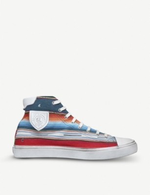SAINT LAURENT Bedford striped cotton-jaquard high-top trainers