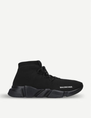 BALENCIAGA Speed knit lace-up mid-top trainers