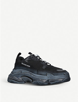 BALENCIAGA: Mens Triple S leather and mesh trainers