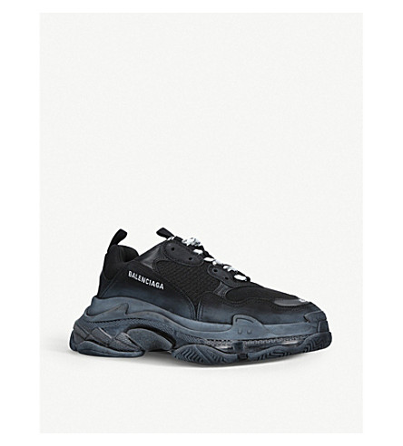 8fb8546b4fe1 ... BALENCIAGA Mens Triple S leather and mesh trainers (Black. PreviousNext