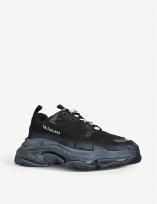 BALENCIAGA Mens Triple S leather and mesh trainers